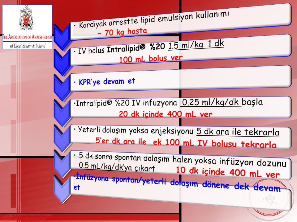 Kardiyak arrestte lipid emulsiyon kullanımı ~ 70 kg hasta