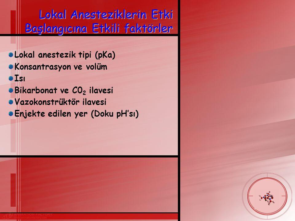 Lokal Anesteziklerin Etki Başlangıcına Etkili faktörler