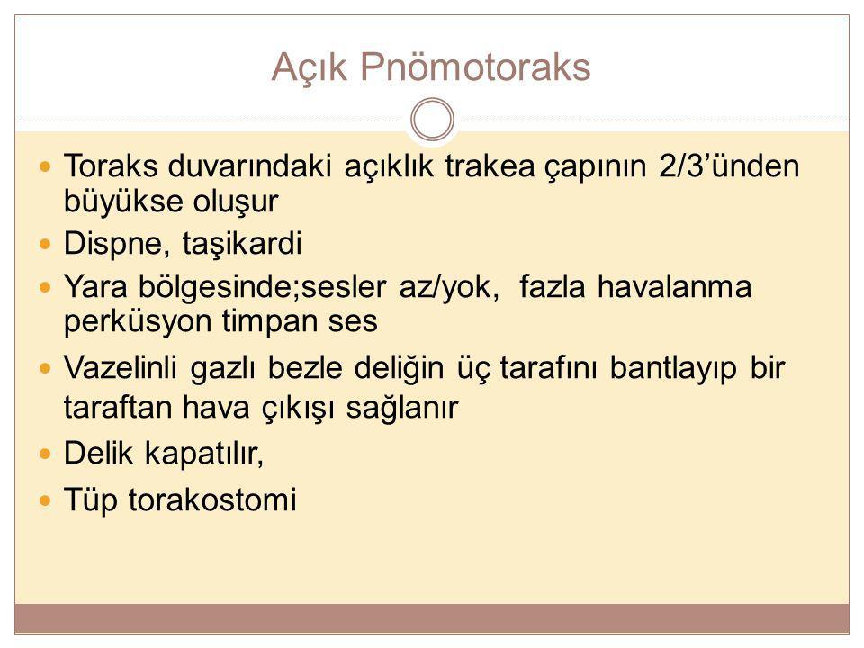Açık Pnömotoraks Toraks duvarındaki açıklık trakea çapının 2/3'ünden büyükse oluşur. Dispne, taşikardi.