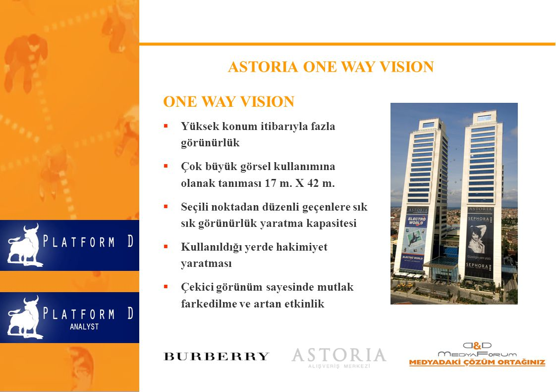 ASTORIA ONE WAY VISION ONE WAY VISION