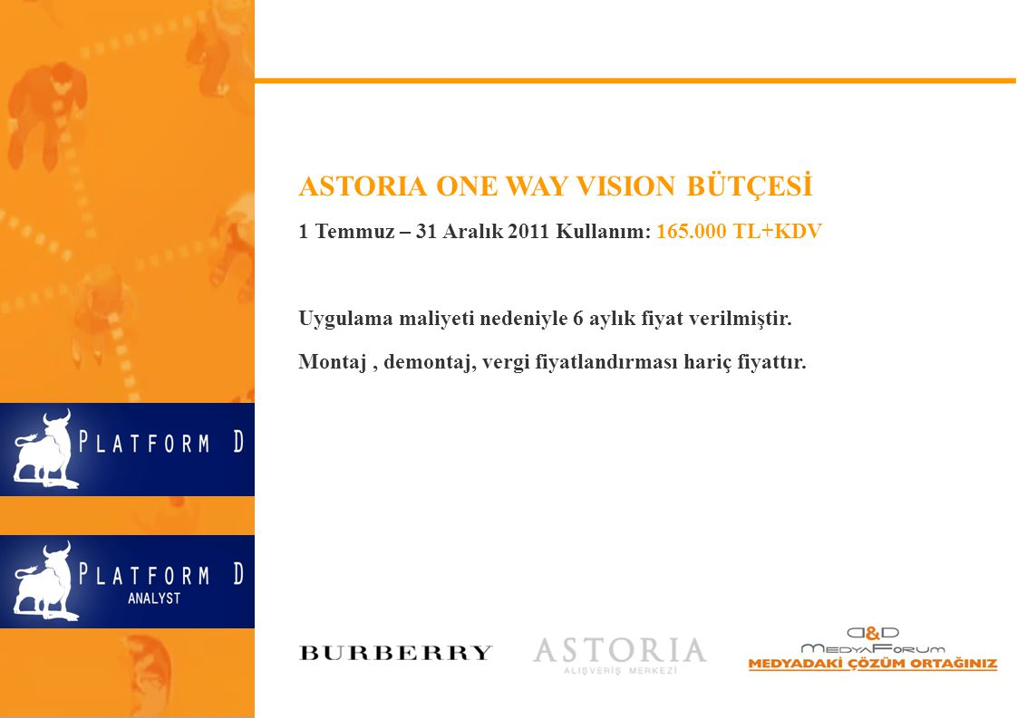 ASTORIA ONE WAY VISION BÜTÇESİ