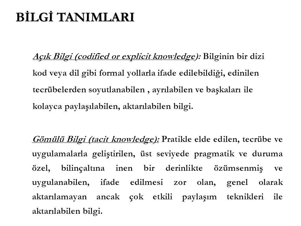 BİLGİ TANIMLARI Açık Bilgi (codified or explicit knowledge): Bilginin bir dizi. kod veya dil gibi formal yollarla ifade edilebildiği, edinilen.