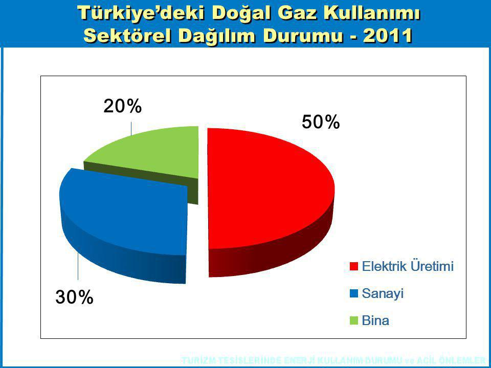 Türkiye'deki Doğal Gaz Kullanımı Sektörel Dağılım Durumu - 2011