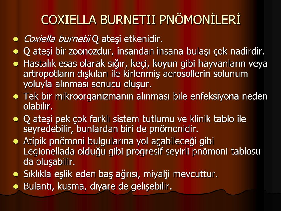 COXIELLA BURNETII PNÖMONİLERİ