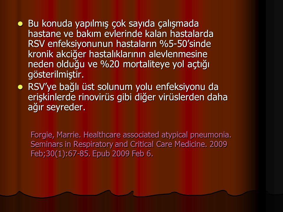 Bu konuda yapılmış çok sayıda çalışmada hastane ve bakım evlerinde kalan hastalarda RSV enfeksiyonunun hastaların %5-50'sinde kronik akciğer hastalıklarının alevlenmesine neden olduğu ve %20 mortaliteye yol açtığı gösterilmiştir.