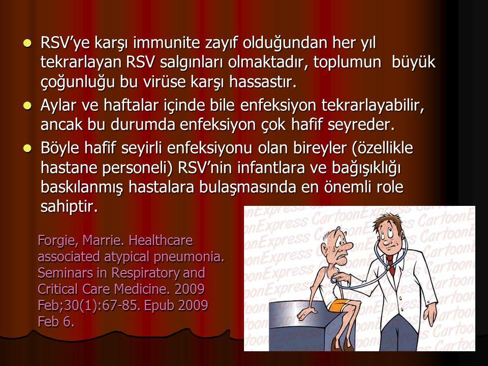 RSV'ye karşı immunite zayıf olduğundan her yıl tekrarlayan RSV salgınları olmaktadır, toplumun büyük çoğunluğu bu virüse karşı hassastır.