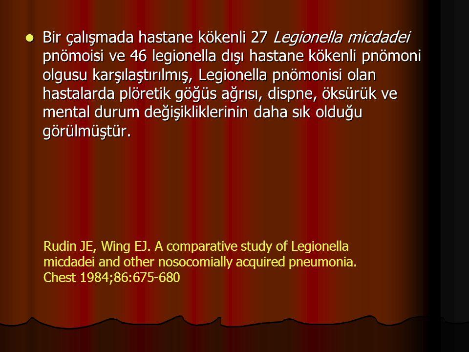 Bir çalışmada hastane kökenli 27 Legionella micdadei pnömoisi ve 46 legionella dışı hastane kökenli pnömoni olgusu karşılaştırılmış, Legionella pnömonisi olan hastalarda plöretik göğüs ağrısı, dispne, öksürük ve mental durum değişikliklerinin daha sık olduğu görülmüştür.