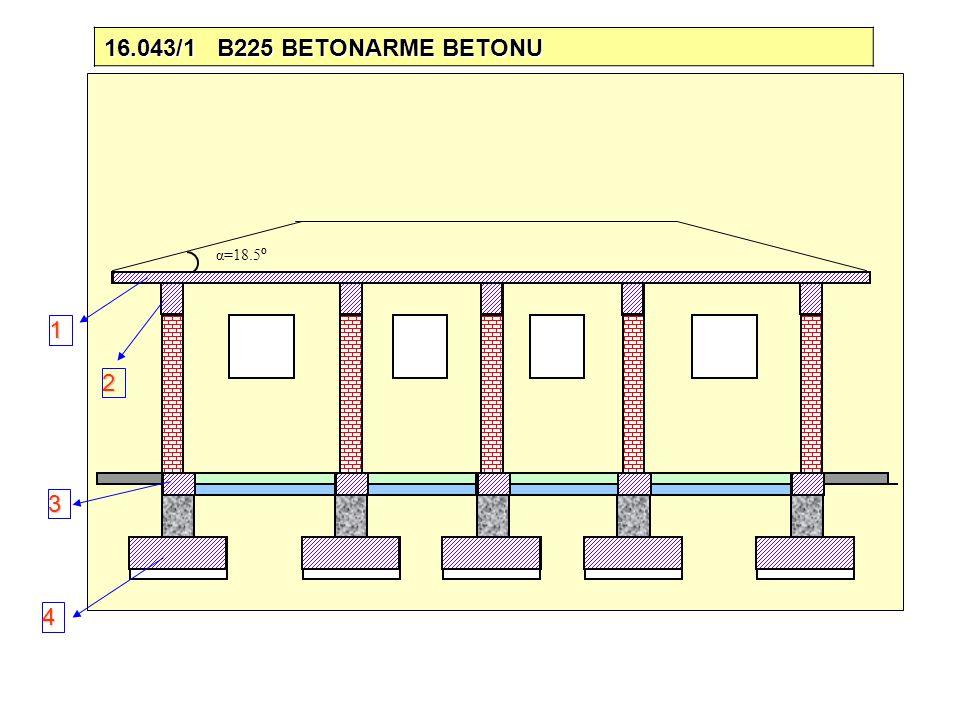 16.043/1 B225 BETONARME BETONU α=18.5º 1 2 3 4