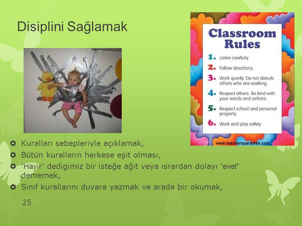 Disiplini Sağlamak Kuralları sebepleriyle açıklamak,