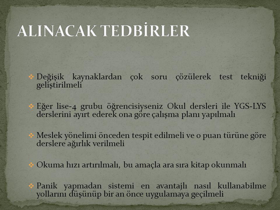 ALINACAK TEDBİRLER Değişik kaynaklardan çok soru çözülerek test tekniği geliştirilmeli.