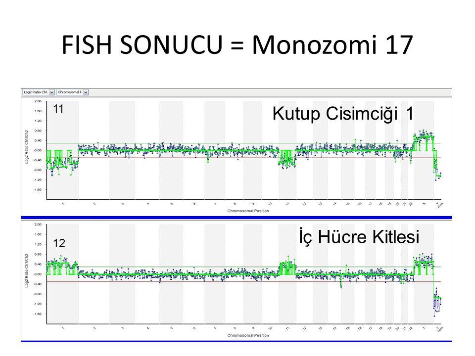 FISH SONUCU = Monozomi 17 11 Kutup Cisimciği 1 İç Hücre Kitlesi 12