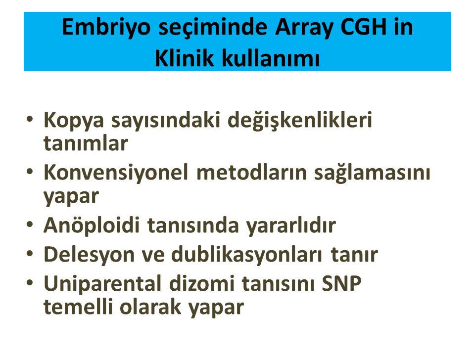 Embriyo seçiminde Array CGH in Klinik kullanımı