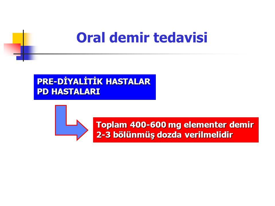 Oral demir tedavisi PRE-DİYALİTİK HASTALAR PD HASTALARI