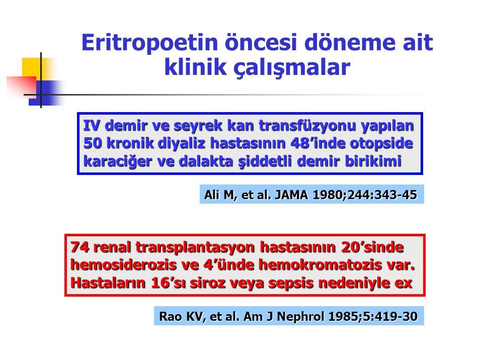Eritropoetin öncesi döneme ait klinik çalışmalar