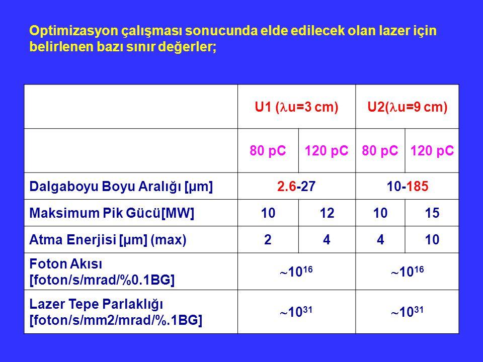Optimizasyon çalışması sonucunda elde edilecek olan lazer için belirlenen bazı sınır değerler;