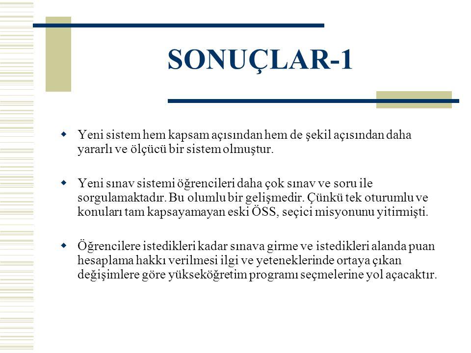 SONUÇLAR-1 Yeni sistem hem kapsam açısından hem de şekil açısından daha yararlı ve ölçücü bir sistem olmuştur.