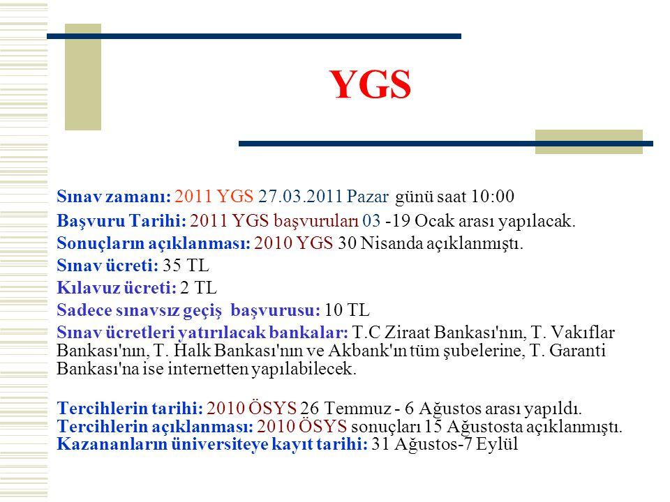 YGS Sınav zamanı: 2011 YGS 27.03.2011 Pazar günü saat 10:00