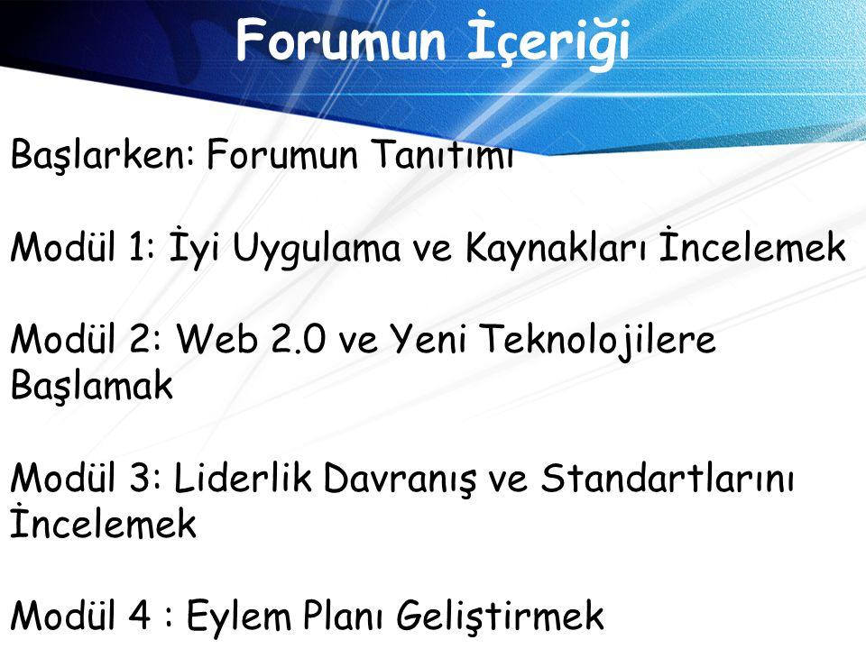 Forumun İçeriği Başlarken: Forumun Tanıtımı