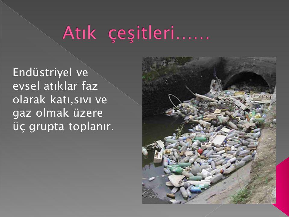 Atık çeşitleri…… Endüstriyel ve evsel atıklar faz olarak katı,sıvı ve gaz olmak üzere üç grupta toplanır.