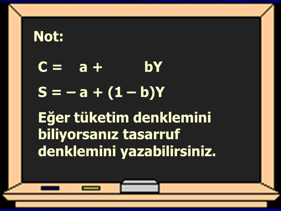 Not: C = a + bY. S = – a + (1 – b)Y.