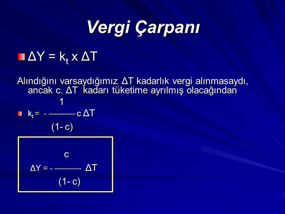 Vergi Çarpanı ΔY = kt x ΔT