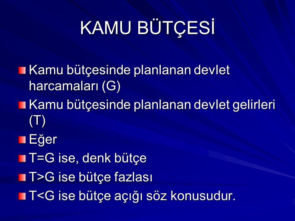 KAMU BÜTÇESİ Kamu bütçesinde planlanan devlet harcamaları (G)