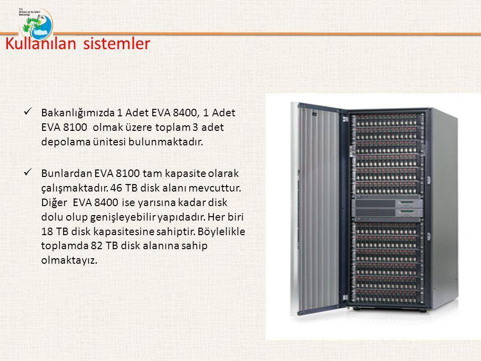 Kullanılan sistemler Bakanlığımızda 1 Adet EVA 8400, 1 Adet EVA 8100 olmak üzere toplam 3 adet depolama ünitesi bulunmaktadır.