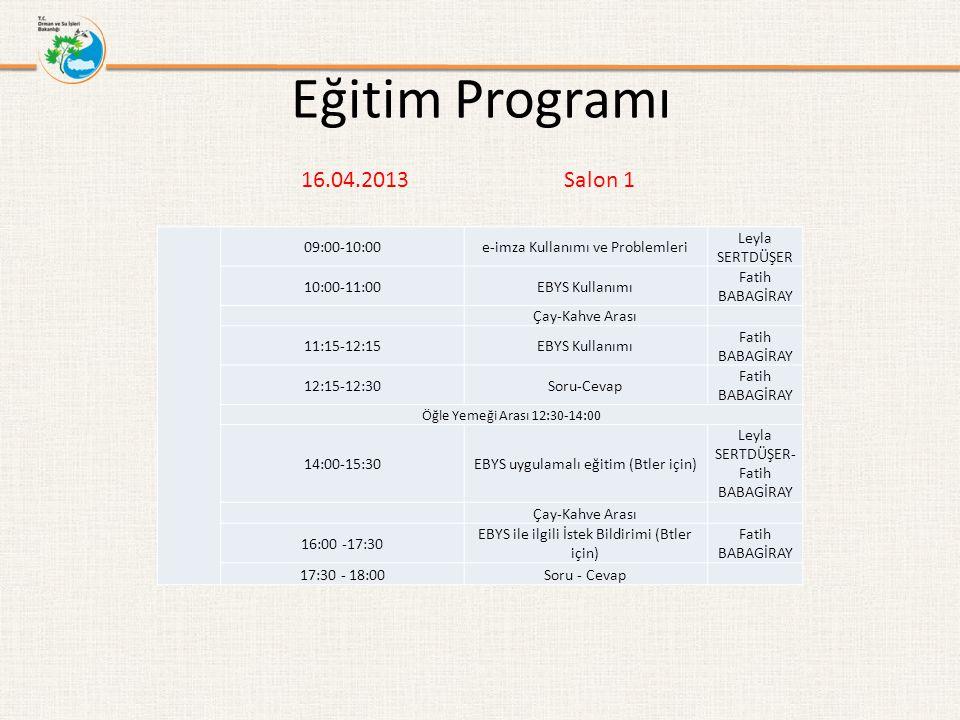 Eğitim Programı 16.04.2013 Salon 1 09:00-10:00