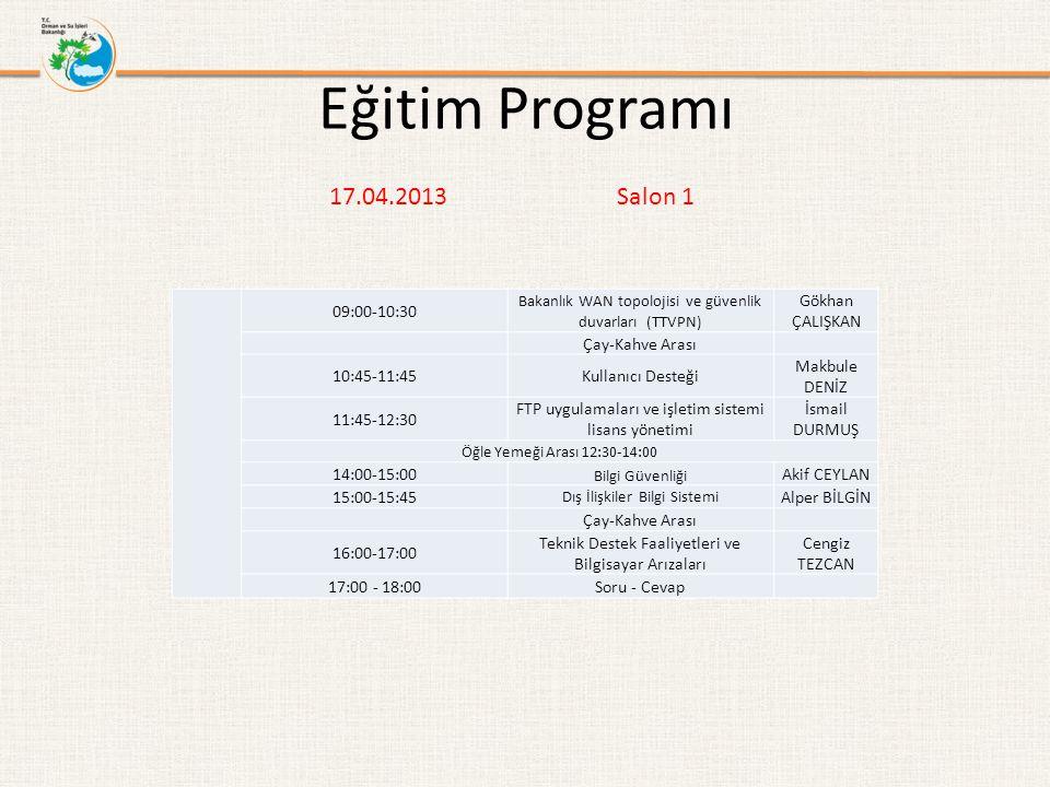 Eğitim Programı 17.04.2013 Salon 1 09:00-10:30 Gökhan ÇALIŞKAN