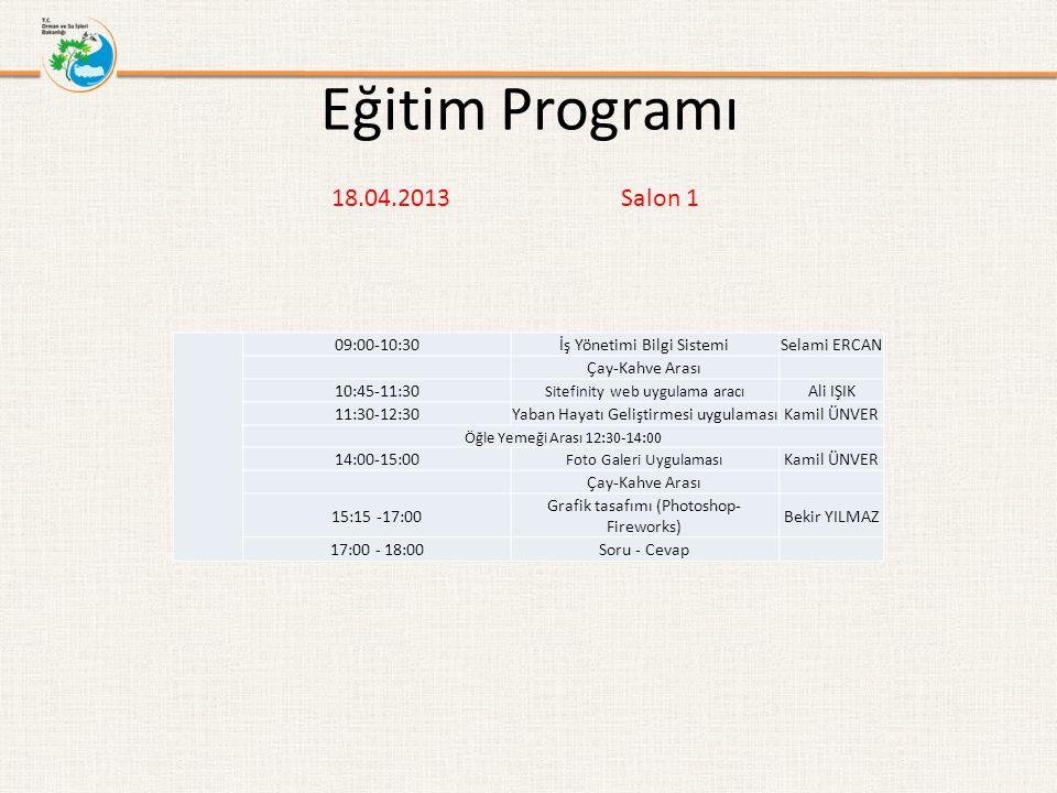 Eğitim Programı 18.04.2013 Salon 1 09:00-10:30