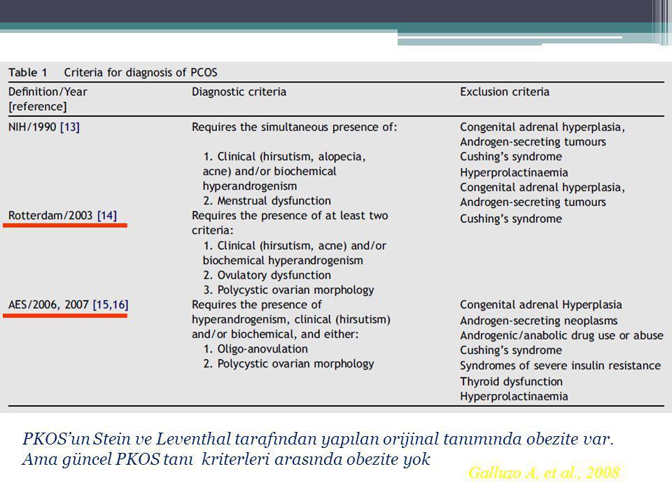 PKOS'un Stein ve Leventhal tarafından yapılan orijinal tanımında obezite var. Ama güncel PKOS tanı kriterleri arasında obezite yok