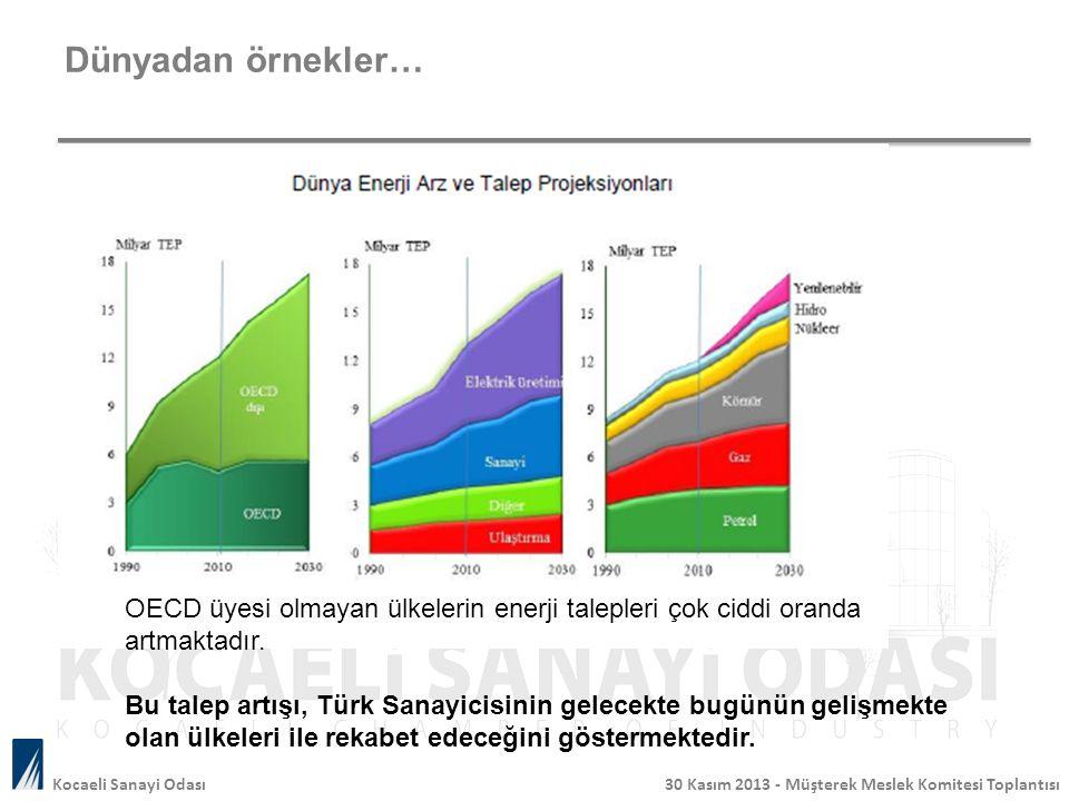 Dünyadan örnekler… OECD üyesi olmayan ülkelerin enerji talepleri çok ciddi oranda artmaktadır.