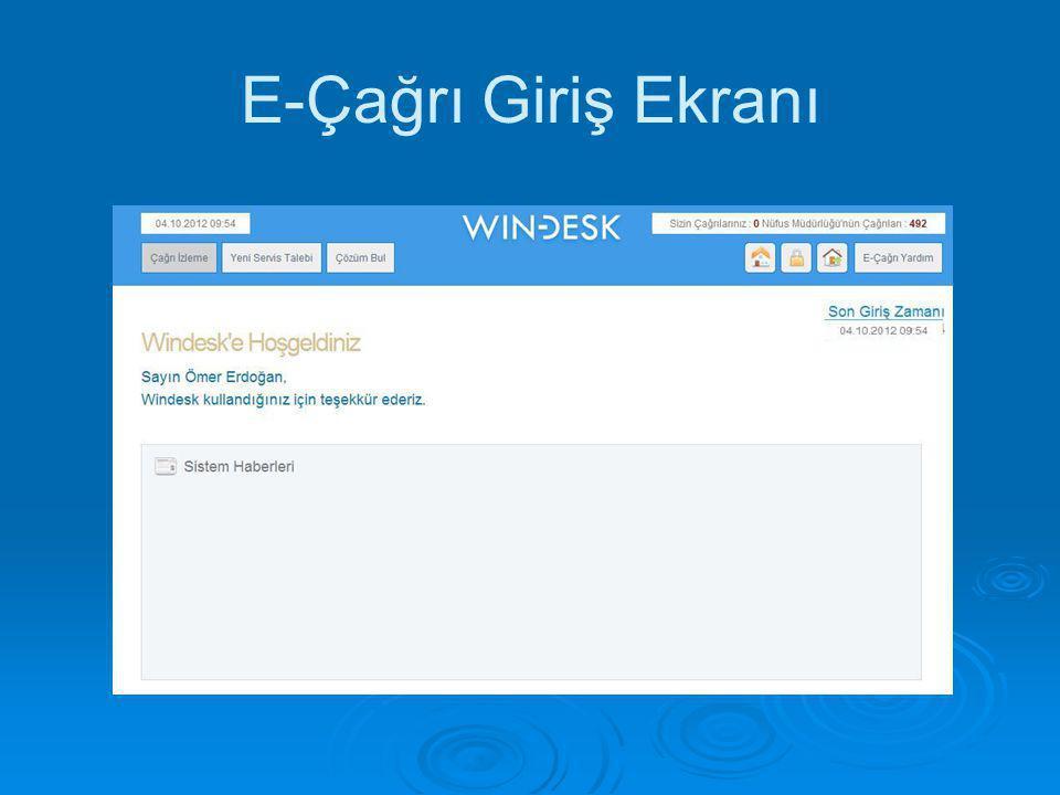 E-Çağrı Giriş Ekranı