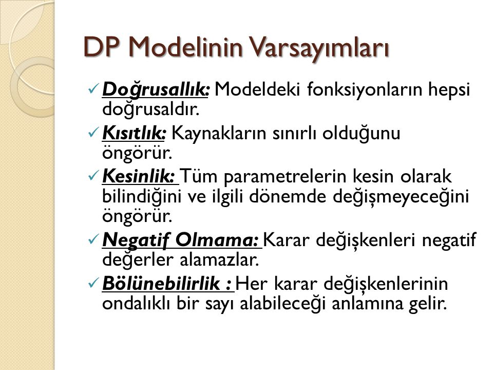 DP Modelinin Varsayımları