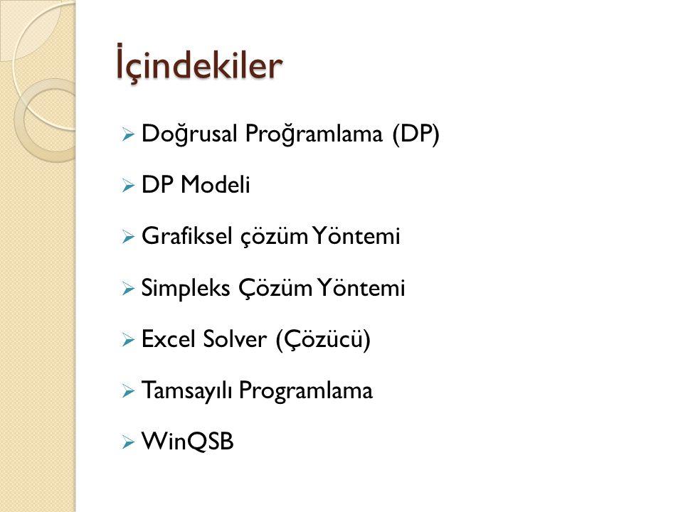 İçindekiler Doğrusal Proğramlama (DP) DP Modeli