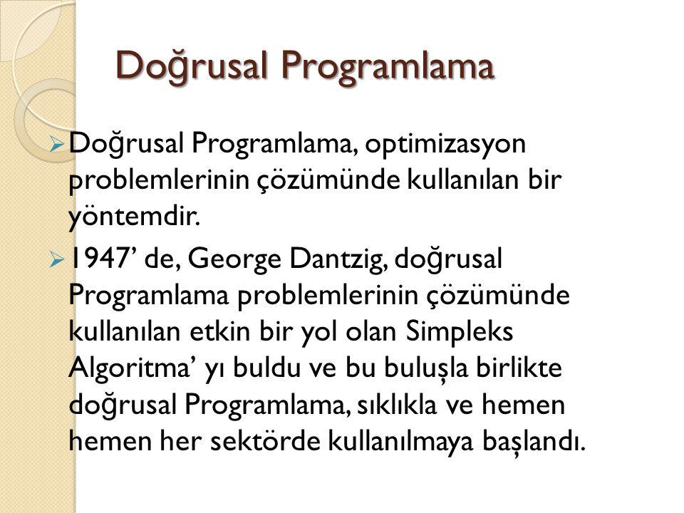 Doğrusal Programlama Doğrusal Programlama, optimizasyon problemlerinin çözümünde kullanılan bir yöntemdir.