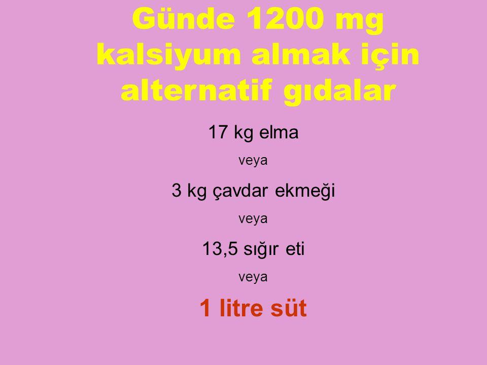 Günde 1200 mg kalsiyum almak için alternatif gıdalar