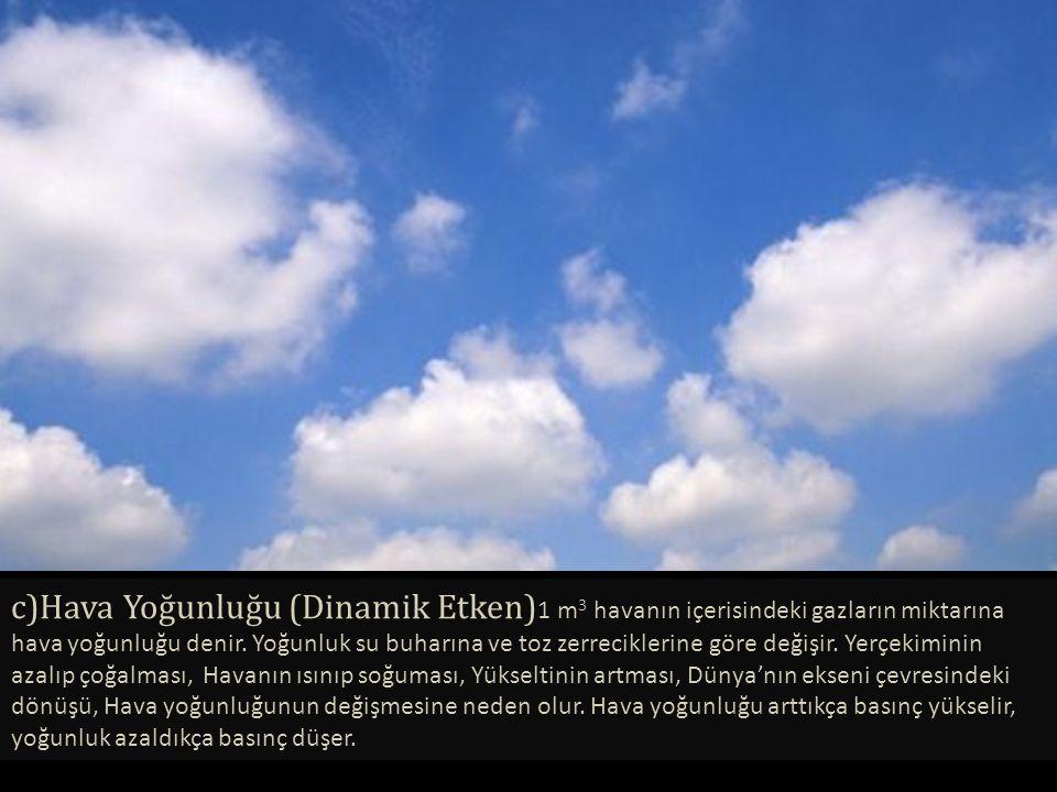 c)Hava Yoğunluğu (Dinamik Etken)1 m3 havanın içerisindeki gazların miktarına hava yoğunluğu denir.