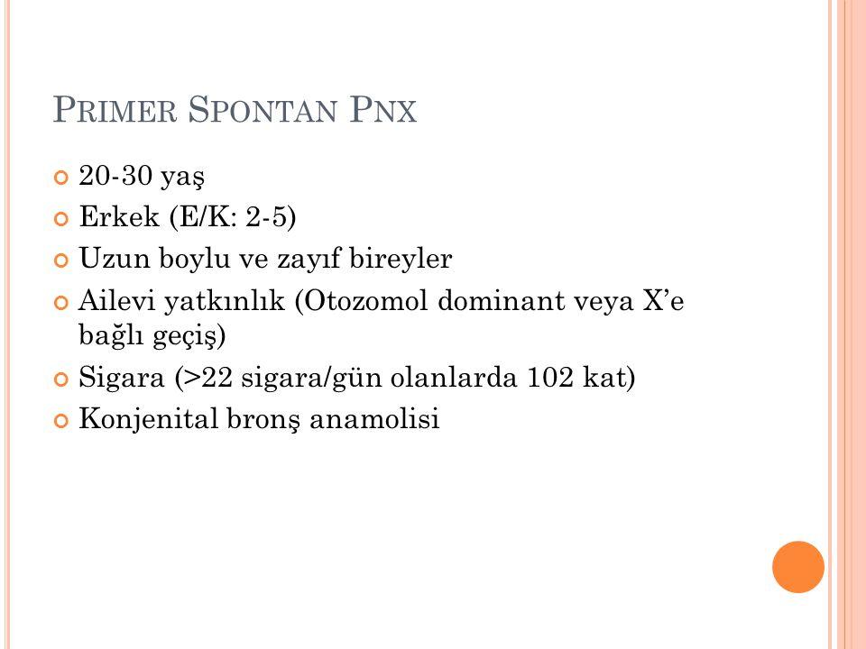 Primer Spontan Pnx 20-30 yaş Erkek (E/K: 2-5)