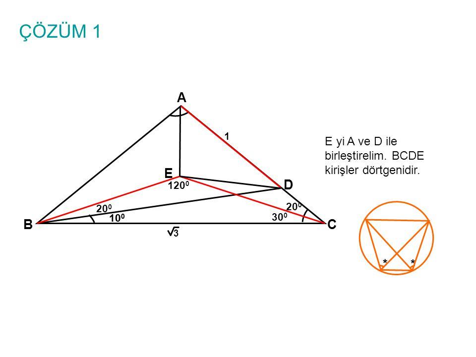 ÇÖZÜM 1 A. 1. E yi A ve D ile birleştirelim. BCDE kirişler dörtgenidir. E. 1200. D. 200. 200.