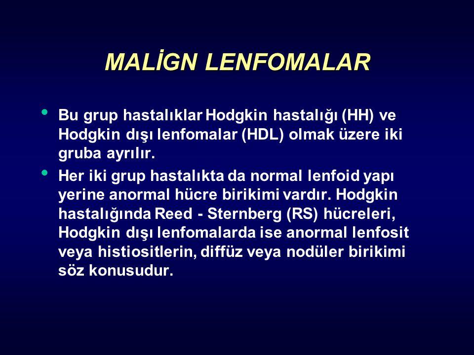 MALİGN LENFOMALAR Bu grup hastalıklar Hodgkin hastalığı (HH) ve Hodgkin dışı lenfomalar (HDL) olmak üzere iki gruba ayrılır.