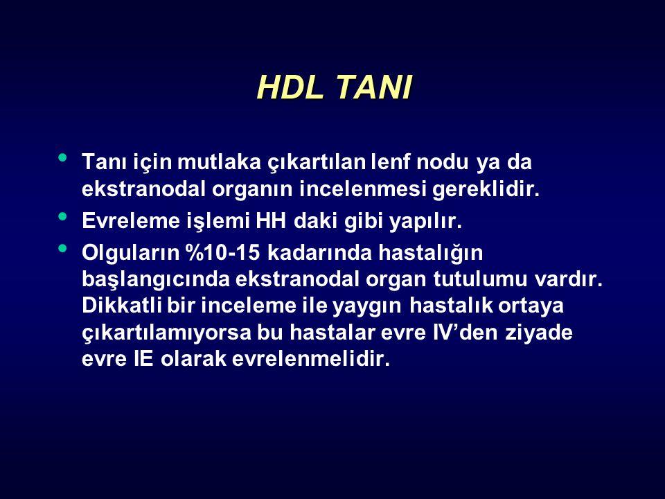 HDL TANI Tanı için mutlaka çıkartılan lenf nodu ya da ekstranodal organın incelenmesi gereklidir. Evreleme işlemi HH daki gibi yapılır.
