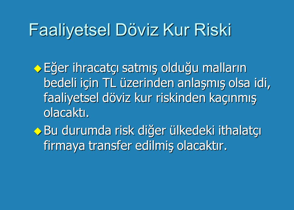 Faaliyetsel Döviz Kur Riski