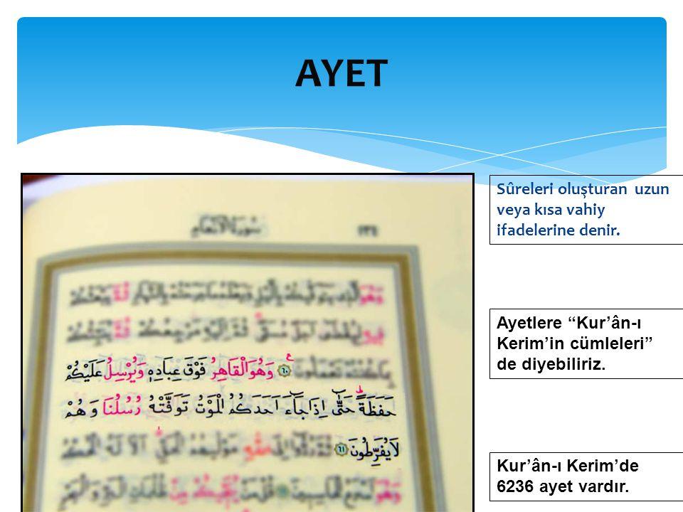 AYET Sûreleri oluşturan uzun veya kısa vahiy ifadelerine denir.
