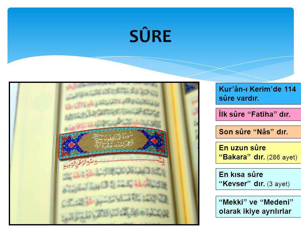 SÛRE Kur'ân-ı Kerim'de 114 sûre vardır. İlk sûre Fatiha dır.