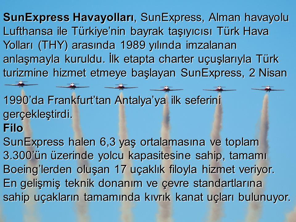 SunExpress Havayolları, SunExpress, Alman havayolu Lufthansa ile Türkiye'nin bayrak taşıyıcısı Türk Hava Yolları (THY) arasında 1989 yılında imzalanan anlaşmayla kuruldu. İlk etapta charter uçuşlarıyla Türk turizmine hizmet etmeye başlayan SunExpress, 2 Nisan