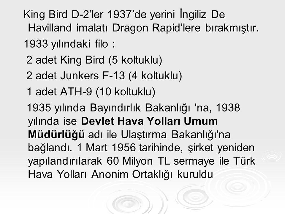 King Bird D-2'ler 1937'de yerini İngiliz De Havilland imalatı Dragon Rapid'lere bırakmıştır.
