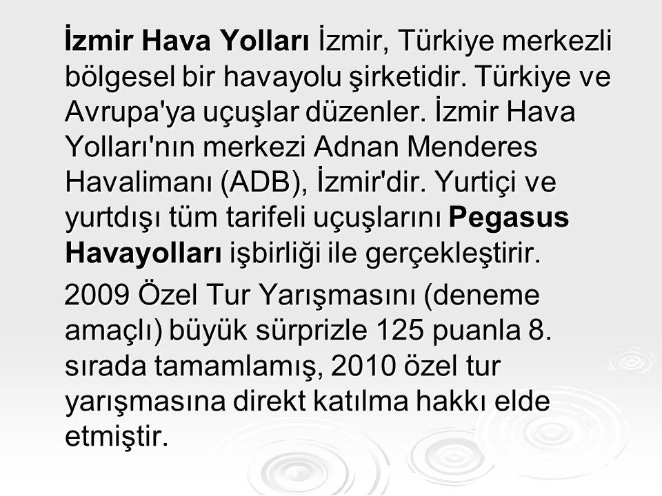 İzmir Hava Yolları İzmir, Türkiye merkezli bölgesel bir havayolu şirketidir. Türkiye ve Avrupa ya uçuşlar düzenler. İzmir Hava Yolları nın merkezi Adnan Menderes Havalimanı (ADB), İzmir dir. Yurtiçi ve yurtdışı tüm tarifeli uçuşlarını Pegasus Havayolları işbirliği ile gerçekleştirir.