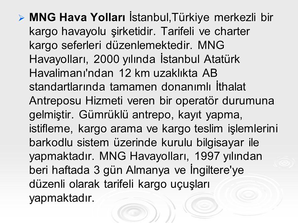 MNG Hava Yolları İstanbul,Türkiye merkezli bir kargo havayolu şirketidir.