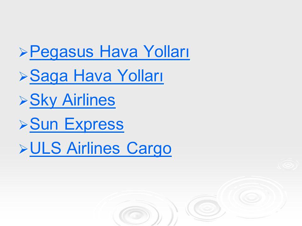Pegasus Hava Yolları Saga Hava Yolları Sky Airlines Sun Express ULS Airlines Cargo